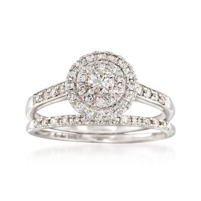 .50 ct. t.w. Diamond Bridal Set: Double Halo Engagement and Weddings Ring in 14kt White Gold, , default