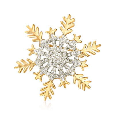 .33 ct. t.w. Diamond Snowflake Pin in 18kt Gold Over Sterling