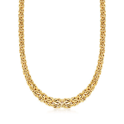 14kt Yellow Gold Graduated Byzantine Necklace, , default