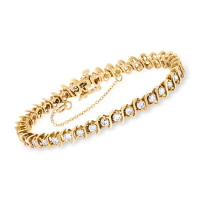 C. 1980 Vintage 3.00 ct. t.w. Diamond Line Bracelet in 14kt Yellow Gold