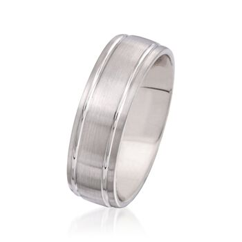 Men's 7mm 14kt White Gold Wedding Ring, , default