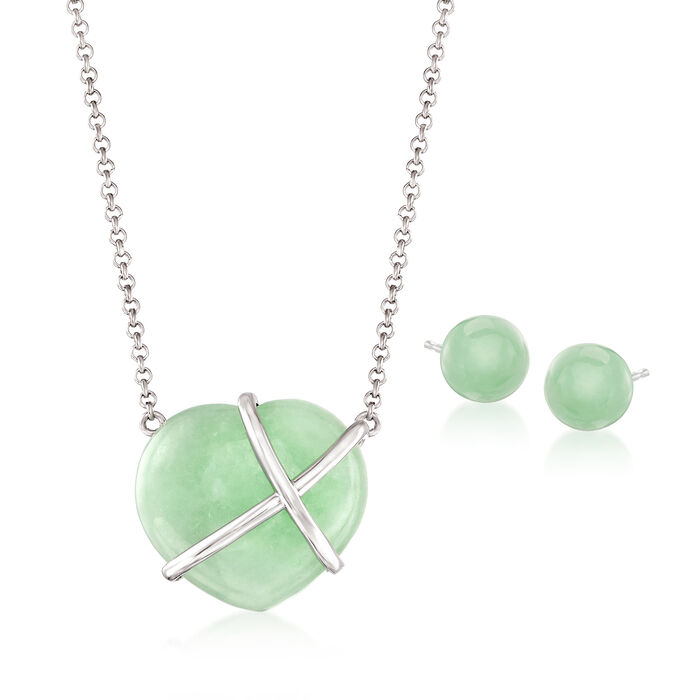 Jade Jewelry Set: Necklace and Earrings in Sterling Silver