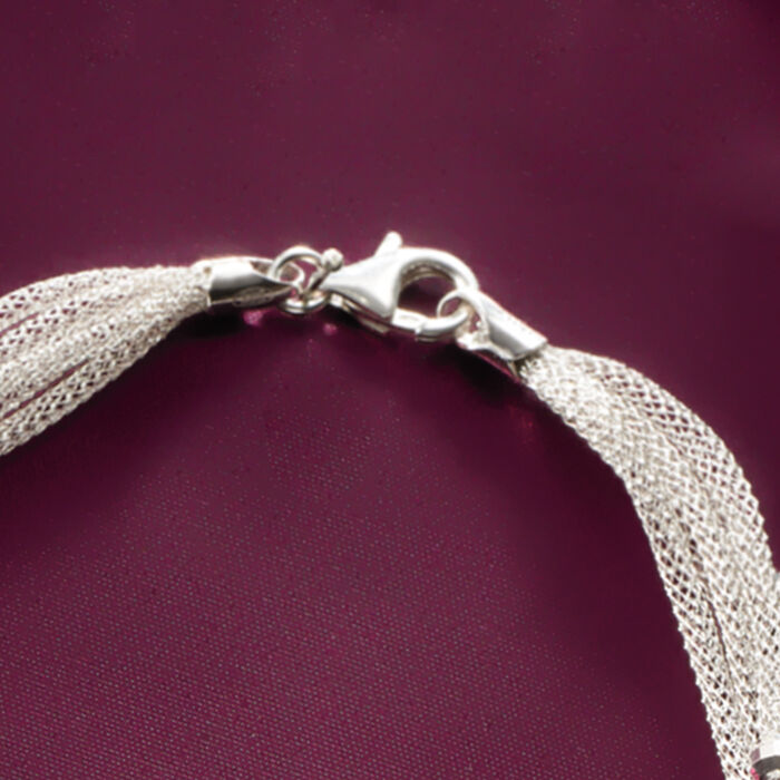 Italian Sterling Silver Five-Strand Beaded Mesh Necklace
