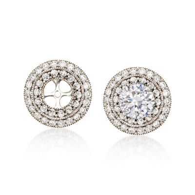 1.00 ct. t.w. Diamond Double-Circle Round Earring Jackets in 14kt White Gold , , default