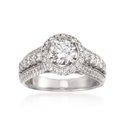 Simon G. .99 ct. t.w. Diamond Engagement Ring Setting in 18kt White Gold