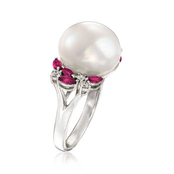 13-13.5mm Cultured Pearl, .70 ct. t.w. Ruby and .23 ct. t.w. Diamond Ring in 14kt White Gold. Size 7