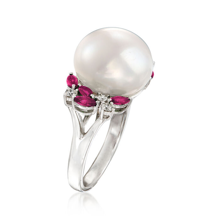 13-13.5mm Cultured Pearl, .70 ct. t.w. Ruby and .23 ct. t.w. Diamond Ring in 14kt White Gold