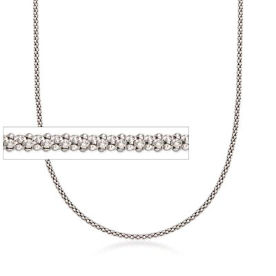 1.5mm Sterling Silver Fancy Popcorn Chain Necklace, , default