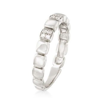 .10 ct. t.w. Diamond Square Station Ring in 14kt White Gold
