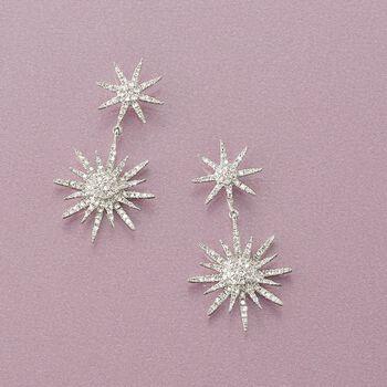 """.94 ct. t.w. Diamond Starburst Drop Earrings in 14kt White Gold. 1 1/8"""""""
