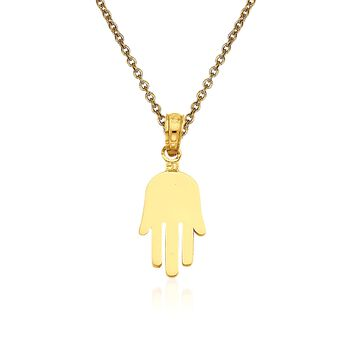 "14kt Yellow Gold Hamsa Pendant Necklace. 18"", , default"
