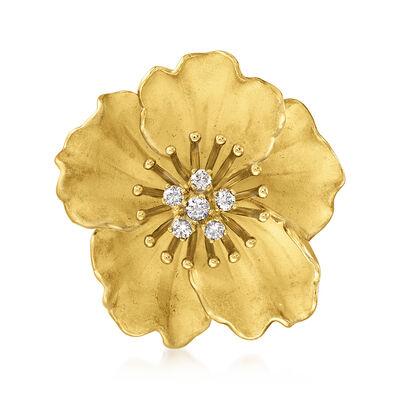 C. 1980 Vintage Tiffany Jewelry .40 ct. t.w. Diamond Flower Pin in 18kt Yellow Gold