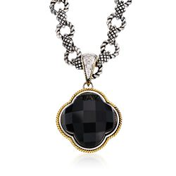 "Andrea Candela Black Onyx Clover Pendant Necklace With Diamonds in Two-Tone. 17"", , default"