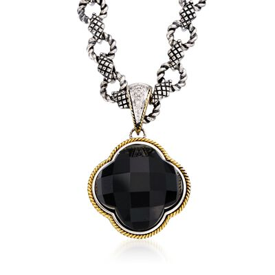 Andrea Candela Black Onyx Clover Pendant Necklace with Diamonds in Two-Tone, , default