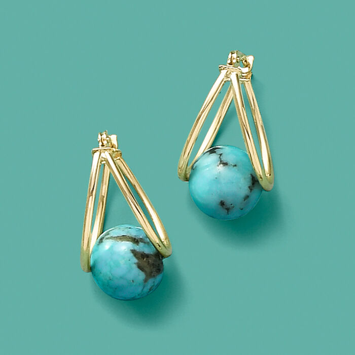 Turquoise Double-Hoop Earrings in 14kt Yellow Gold