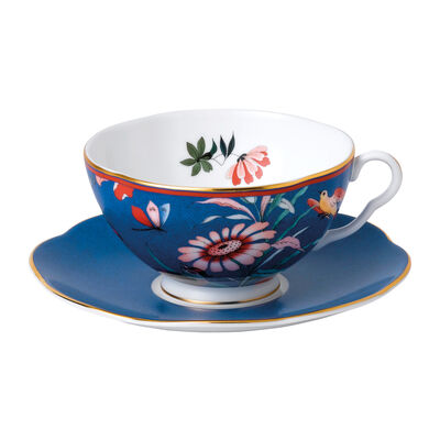 "Wedgwood ""Paeonia Blush"" Blue Teacup and Saucer Set, , default"