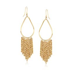 14kt Yellow Gold Pear-Shaped Tassel Drop Earrings, , default