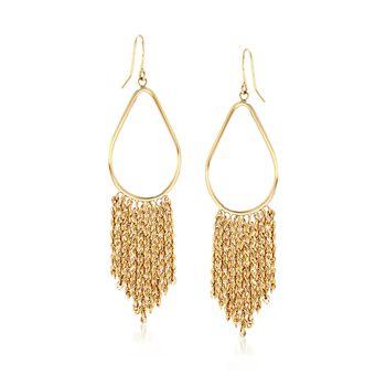 14kt Yellow Gold Pear-Shaped Tassel Drop Earrings, , default