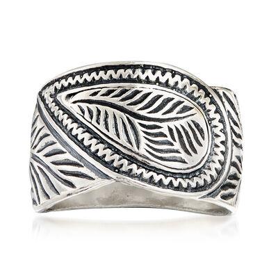 Oxidized Sterling Silver Leaf Ring