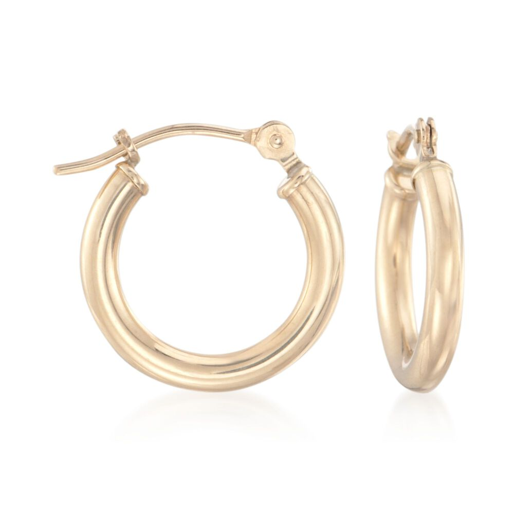 "d9f48fc15 1.5mm 14kt Yellow Gold Small Hoop Earrings. 1/2"", , default"