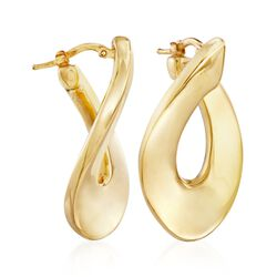 "Italian 18kt Yellow Gold Flat Twisted Hoop Earrings. 1 3/8"", , default"