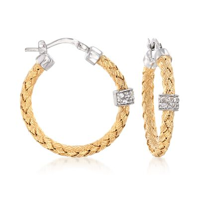 "Charles Garnier ""Torino"" .20 ct. t.w. CZ Small Hoop Earrings in Two-Tone Sterling Silver"