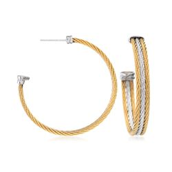 "ALOR ""Classique"" Two-Tone Stainless Steel Multi-Cable Hoop Earrings With 18kt White Gold. 1 5/8"", , default"