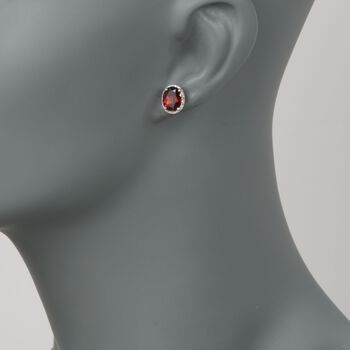 4.05 ct. t.w. Garnet Stud Earrings With .10 ct. t.w. Diamonds in 14kt White Gold, , default