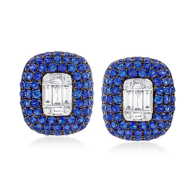 2.50 ct. t.w. Sapphire and .41 ct. t.w. Diamond Earrings in 18kt White Gold, , default