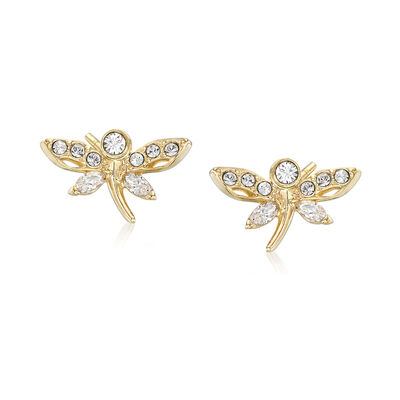 "Swarovski Crystal ""Magnetic"" Dragonfly Stud Earrings in Gold-Plated Metal, , default"