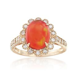 Fire Opal and .22 ct. t.w. Diamond Ring in 14kt Yellow Gold, , default