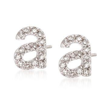 3b1cf0286 Diamond Accent Lowercase Block Initial Stud Earrings in Sterling Silver, ...