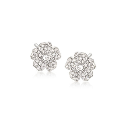 "Mikimoto ""Cherry Blossom"" .36 ct. t.w. Diamond Floral Earrings in 18kt White Gold, , default"