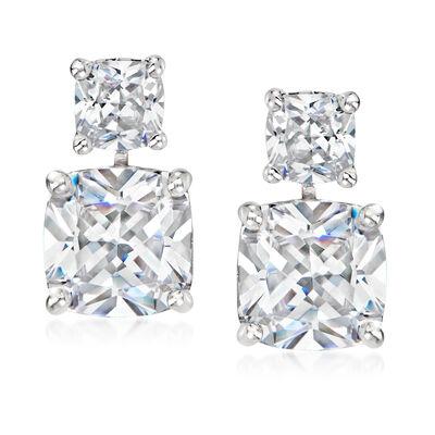 10.50 ct. t.w. CZ Drop Earrings in Sterling Silver