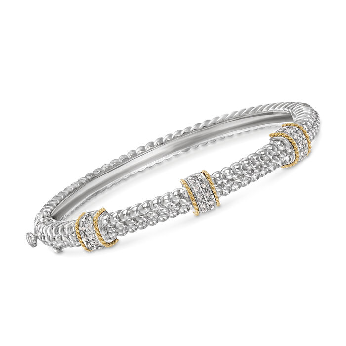 .11 ct. t.w. Diamond Station Bangle Bracelet in Sterling Silver and 14kt Yellow Gold