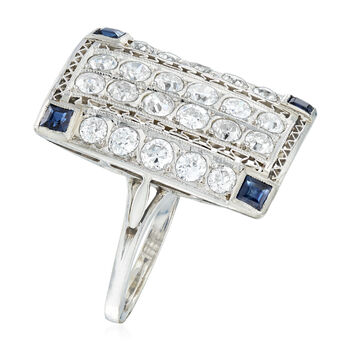 C. 1950 Vintage 1.75 ct. t.w. Diamond and .40 ct. t.w. Sapphire Ring in 14kt White Gold. Size 7.25, , default