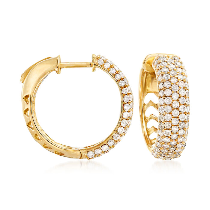 2.00 ct. t.w. Pave Diamond Hoop Earrings in 14kt Yellow Gold. 3/4""