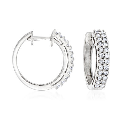 C. 1990 Vintage .95 ct. t.w. Diamond Hoop Earrings in 14kt White Gold