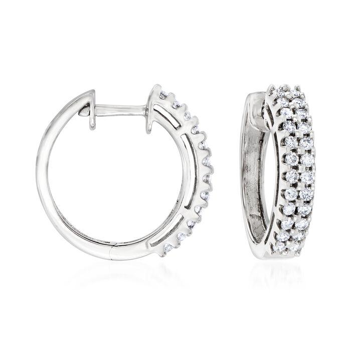 "C. 1990 Vintage .95 ct. t.w. Diamond Hoop Earrings in 14kt White Gold. 3/4"""