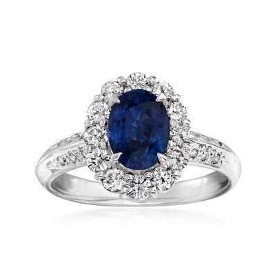 C. 1990 Vintage 1.95 Carat Sapphire and .73 ct. t.w. Diamond Ring in Platinum