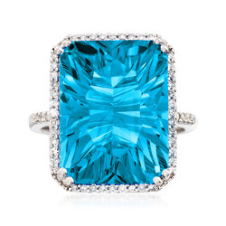 13.00 Carat Blue Topaz and .20 ct. t.w. Diamond Ring in 14kt White Gold, , default