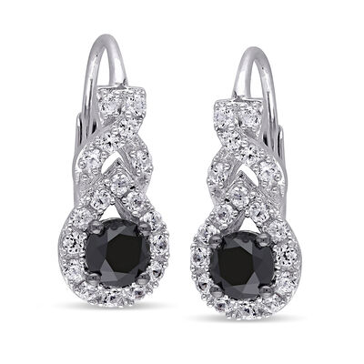 1.00 ct. t.w. Black Diamond and .70 ct. t.w. Synthetic White Sapphire Drop Earrings in Sterling Silver