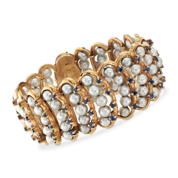 """C. 1970 Vintage 5-5.5mm Cultured Pearl and 6.00 ct. t.w. Sapphire Bracelet in 14kt Yellow Gold. 7.25"""", , default"""