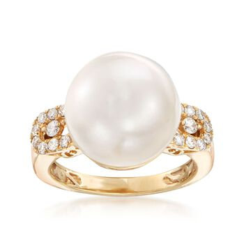 13.5-14mm Cultured Pearl and .28 ct. t.w. Diamond Ring in 14kt Yellow Gold, , default