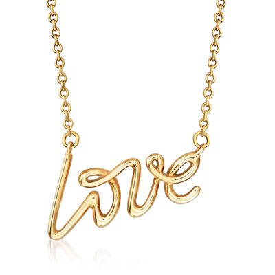 """C. 1970 Vintage Tiffany Jewelry """"Love"""" Necklace in 18kt Yellow Gold, , default"""