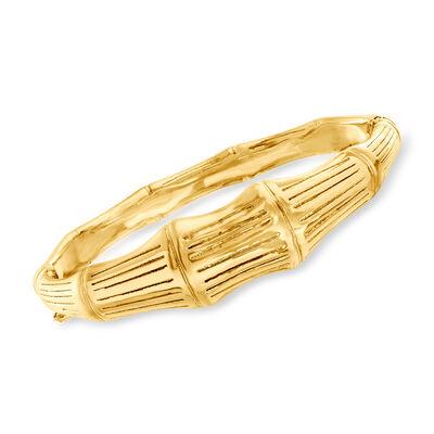 Italian 18kt Gold Over Sterling Bamboo Bangle Bracelet