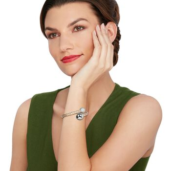 """Italian 1.06 ct. t.w. Diamond Bypass Bracelet in 14kt Two-Tone Gold. 7"""", , default"""