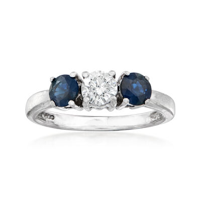 C. 1980 Vintage .40 Carat Diamond and .75 ct. t.w. Sapphire Ring in Platinum, , default