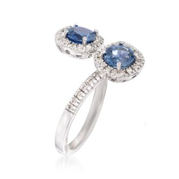 1.20 ct. t.w. Sapphire and .23 ct. t.w. Diamond Bypass Ring in 14kt White Gold, , default