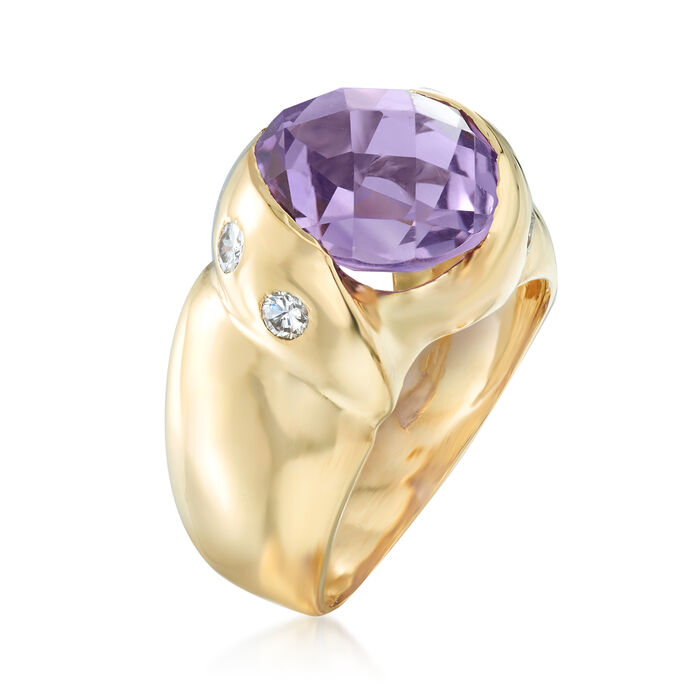 C. 1980 Vintage 1.75 Carat Amethyst and .40 ct. t.w. Diamond Ring in 18kt Yellow Gold
